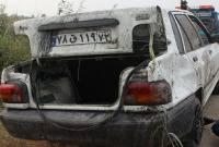 سقوط یک دستگاه پراید به کانال حاشیه جاده گهرباران+ تصاویر