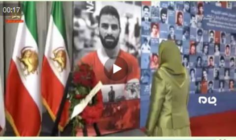 ادای احترام مریم رجوی سرکرده گروهک تروریستی منافقین به نوید افکاری